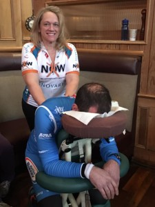 After-ride party chair massages for the riders!